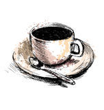 Colored hand drawing coffee cup Royalty Free Stock Images