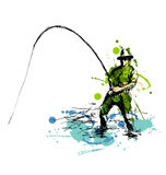 Colored hand drawing fisherman. Vector illustration Stock Photos