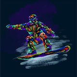Colored hand drawing sketch snowboarder on a grunge background. Vector illustration snowboard print design art stock illustration