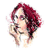 Colored Hand drawing a woman's head Royalty Free Stock Photos