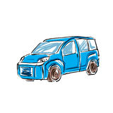 Colored hand drawn car illustration Royalty Free Stock Photo
