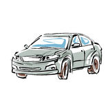 Colored hand drawn car on white background, illustrated sedan. Stock Photo