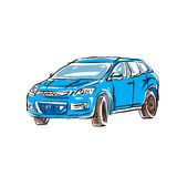 Colored hand drawn car on white background Royalty Free Stock Photo