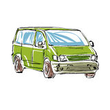 Colored hand drawn car on white background, illustration of a mi Stock Image