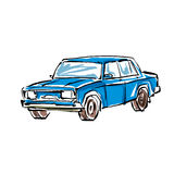 Colored hand drawn car on white background, illustration of a se Royalty Free Stock Photo
