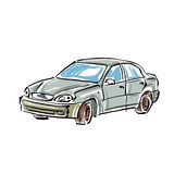 Colored hand drawn car on white background Royalty Free Stock Image