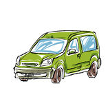Colored hand drawn car on white background, illustration of a st Royalty Free Stock Photo