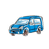 Colored hand drawn car on white background, minivan Royalty Free Stock Images