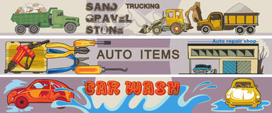 Colored Hand Drawn Cars Horizontal Banners. With truck lorry tractor auto repair tools and automobile washing vector illustration Royalty Free Stock Photography