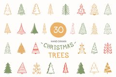 30 Colored hand drawn Christmas trees, vector eps10 illustration. 30 Colored hand drawn Christmas trees royalty free illustration