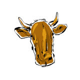 Colored hand drawn cow, illustration of a cow. Royalty Free Stock Photos
