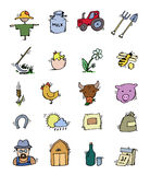 Colored Hand drawn Farm icon set Stock Photography