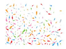 Colored hand drawn fish confetti futuristic. Colored hand drawn fish light. The good confetti background illustrations design. Confetti new background blurred vector illustration
