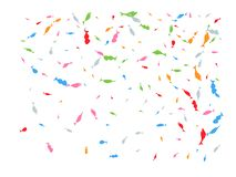 Colored hand drawn fish confetti glowing royalty free illustration