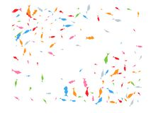 Colored hand drawn fish confetti wallpaper royalty free illustration