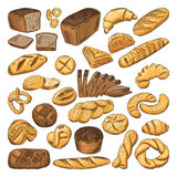 Colored hand drawn pictures of fresh bread and different types of bakery food. Baguette, croissant and others Stock Photos