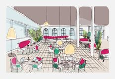 Colored hand drawn restaurant or cafe interior with checkered floor and stylish furnishings. Colorful freehand drawing. Or sketch of modern bistro furnished in Stock Photos