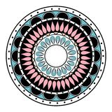 Colored hand drawn zentangle mandala element Royalty Free Stock Photo