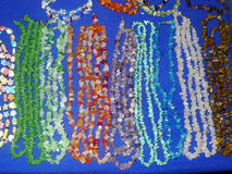 Colored hand made necklaces. Peruvian colored hand made necklaces stock photos