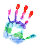 Colored hand print. Close up of colored hand print on white background Stock Photos