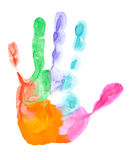 Colored hand print. Close up of colored hand print on white background Royalty Free Stock Images