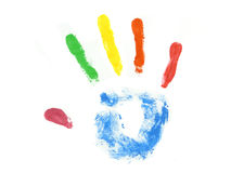 Colored hand print. Isolated over white background Royalty Free Stock Photography