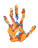 Colored hand print on white background Royalty Free Stock Photos