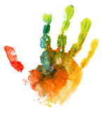 Colored hand print on white. Background Stock Photos