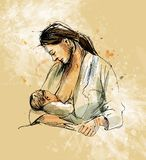 Colored hand sketch mother nursing baby on a grunge background Royalty Free Stock Photography