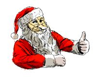 Colored hand sketch santa claus Stock Photography