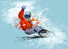 Colored hand sketch snowboarder on a grunge background stock illustration