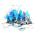 Colored hand sketch winter landscape Stock Images