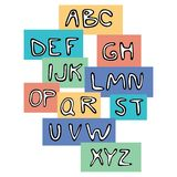 Hand drawn ABC. Colored hand written alphabet abc on colored fields. Fine for teaching first aids, learning abc as a song, schools, daycare centers and vector illustration