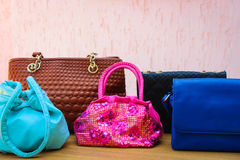 Colored handbags closeup Stock Image