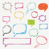 Colored Handdrawn Speech Bubble Set. Handdrawn colored speech bubbles set on the white background vector illustration