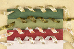 Colored handmade paper. With ribbons Royalty Free Stock Photo