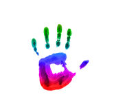 Colored handprint. Colorful rainbow on the child hand Royalty Free Stock Images