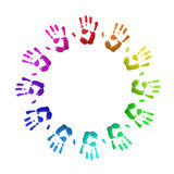 Colored handprints Royalty Free Stock Photos