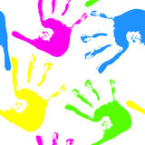 Colored handprints Royalty Free Stock Images