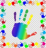 Colored handprints border and big rainbow palm  in center. Bright  vector illustration with multicolored handprints border and big rainbow palm print silhouette Stock Photo