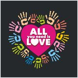 Colored handprints and pink heart  - vector Royalty Free Stock Photos