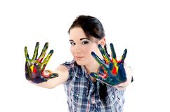 Colored hands Stock Photo