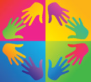 Colored hands in a circle Royalty Free Stock Images