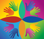Colored hands in a circle Royalty Free Stock Photo