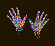 Colored hands created from the multicolored colored rounds, emotional life comcept, emotions series,colored hand royalty free illustration