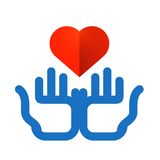 Colored hands and heart on a white background. Color icon. heart and hands on white background Royalty Free Stock Images