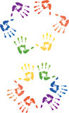 Colored hands print Stock Photo