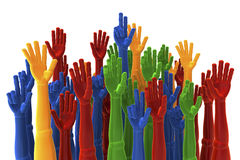 Colored hands raised up for election, choice Stock Photo