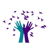 Colored hands releasing a flock of birds Royalty Free Stock Photography