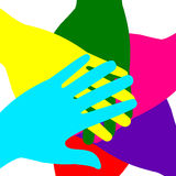 Colored hands superimposed Stock Photography